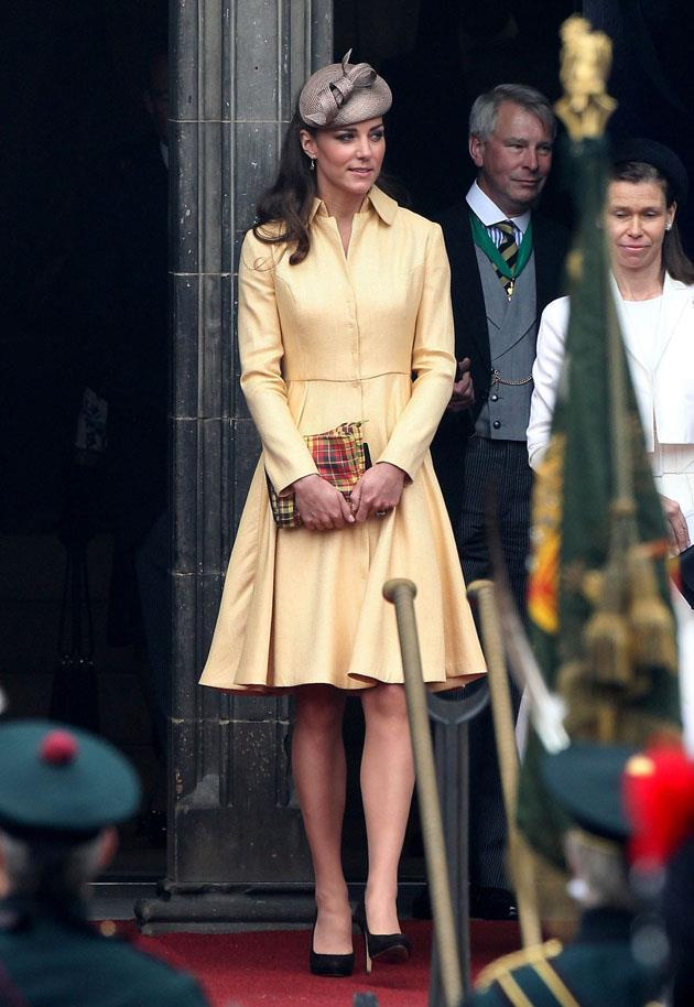 <strong>July 5, 2012</strong> <br><br> To attend the Thistle Ceremony in Edinburgh, Kate wore a bespoke Emilia Wickstead coat dress in yellow. William became a part of the Order of the Thistle that day.
