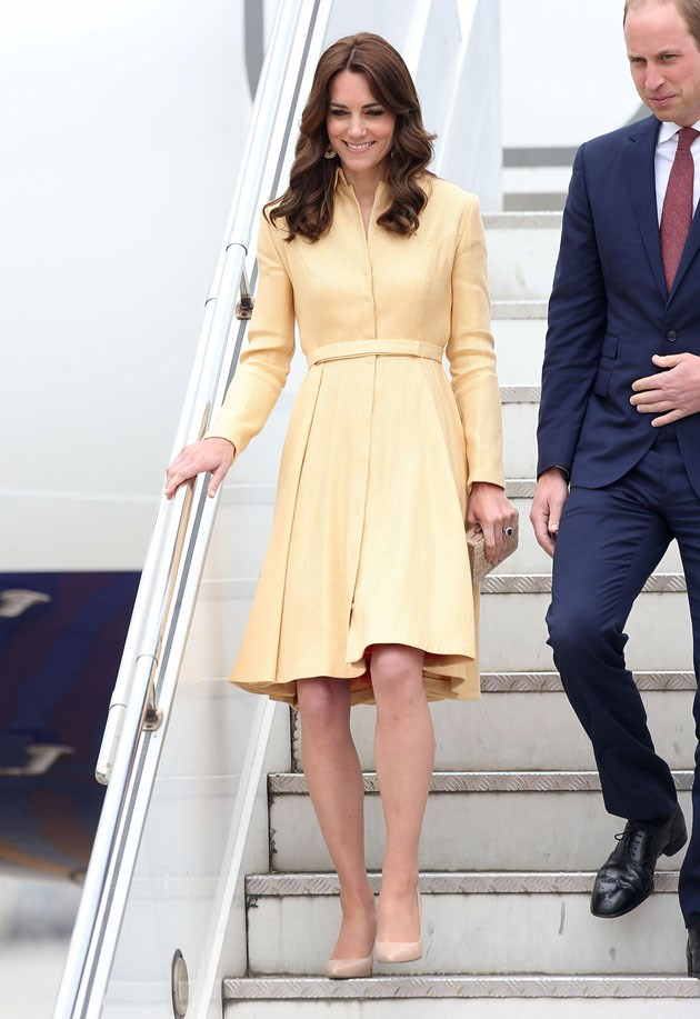 <strong>April 14, 2016</strong> <br><br> It took four years for Kate to rewear the coat dress, but she did it! She stepped off the plane in Thimphu, Bhutan, to greet her hosts wearing sunny yellow.