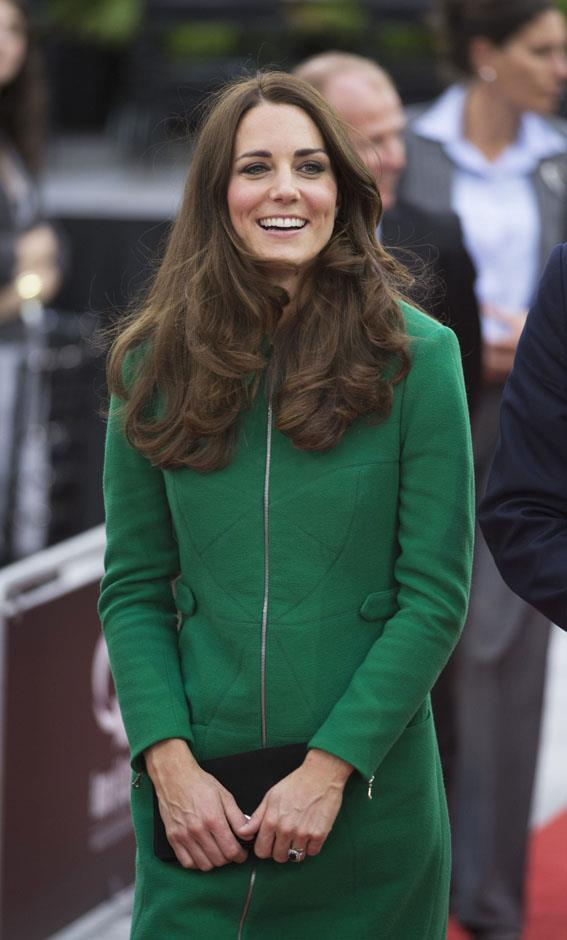<strong>April 12, 2014</strong> <br><br> Here she is wearing a green Erdem coat in Hamilton, New Zealand, during the Australia New Zealand tour.