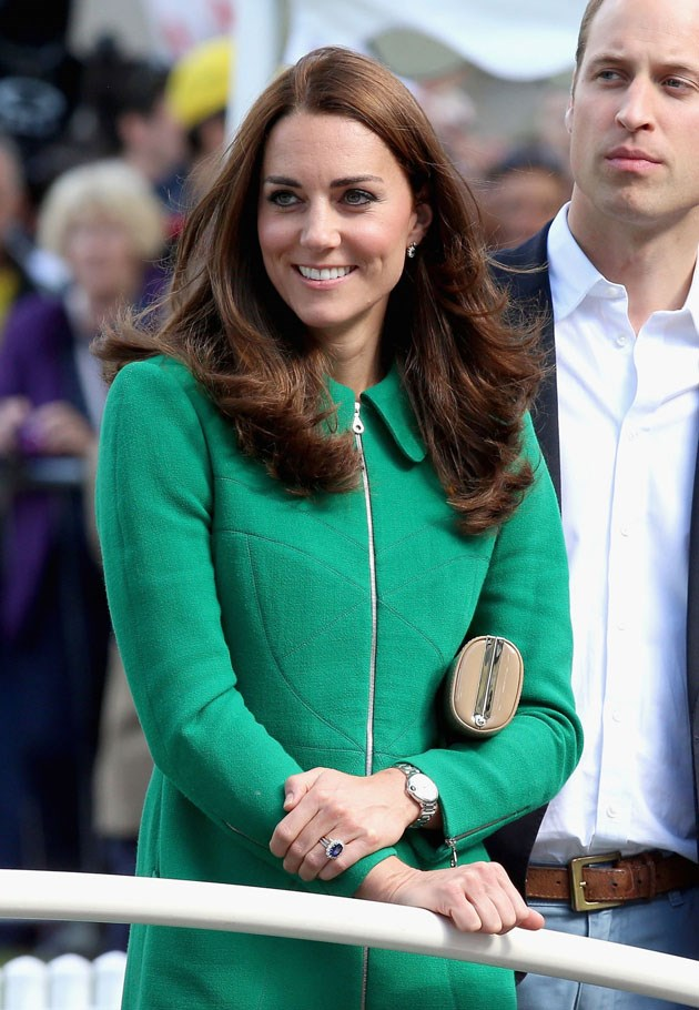 <strong>April 5, 2014</strong> <br><br> It's <em>really</em> hard to tell that she's at a different event but, believe it! (It's the hair.) Kate joined Will and Harry on the sidelines at the finish line of Stage 1 of the Tour De France in the U.K.