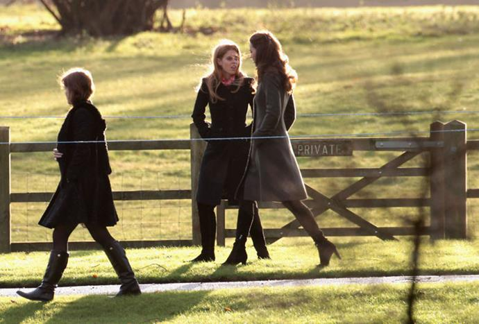 <strong>December 25, 2011</strong> <br><br> For her first official Christmas as a royal, Kate wore an olive green knee-length coat from Reiss.