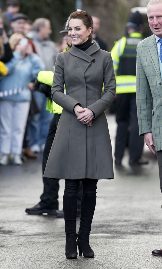 <strong>November 20, 2015</strong> <br><br> Kate wore her Reiss coat again in North Wales while visiting The Men's Shed Centre with Will.