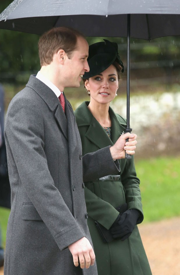 <strong>December 25, 2015</strong> <br><br> This is a different dark green coat by Sportmax (it's always nice to have more than one dark green coat option!), introduced to the world on Christmas at Sandringham in King's Lynn, England. Will held the umbrella, as he usually does.