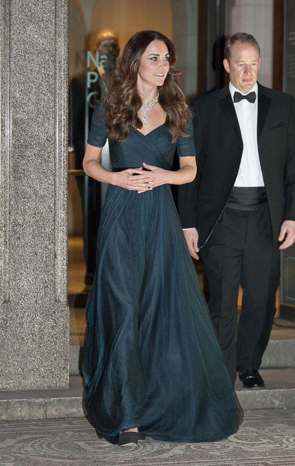 <strong>February 11, 2014</strong> <br><br> Here's Kate wearing the gown for the National Portrait Gallery's Portrait Gala in London.