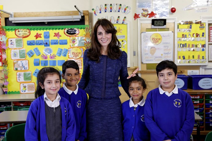 <strong>February, 2016</strong> <br><br> As the royal patron of Place2Be, a children's mental health charity, Kate joined school children at Salusbury Primary School in London to film a video message about the importance of mental health.