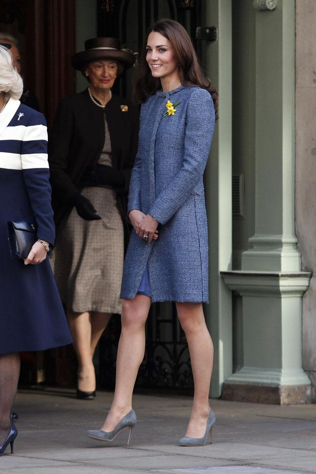 <strong>March 1, 2012</strong> <br><br> Kate joined the Duchess of Cornwall and the queen at Fortnum and Mason in London wearing a muted blue coat from M by Missoni.