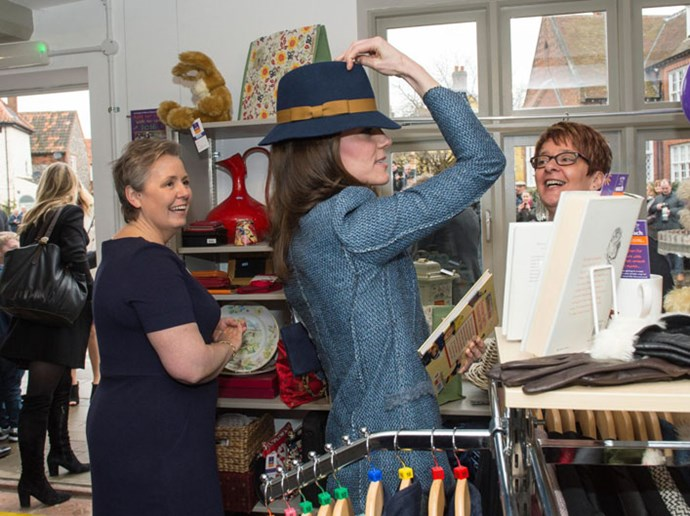 <strong>March 18, 2016</strong> <br><br> While touring a charity shop in England, Kate had on the M by Missoni coat and tried on a fun hat! She didn't buy it though.