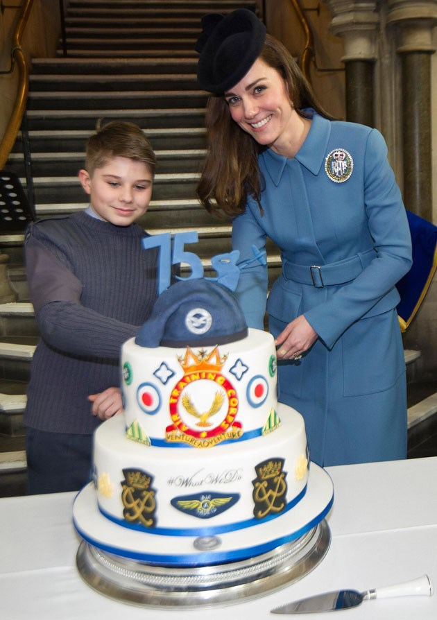 <strong>February 7, 2016</strong> <br><br> Cake-cutting: Also a big royal duty. Kate did the honours during a celebration for the 75th Anniversary of the RAF Air Cadets London. And she wore a big fancy RAF pin on her coat.