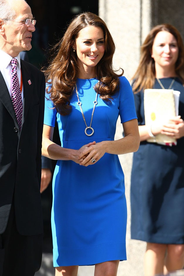 <strong>July 19, 2012</strong> <br><br> People of the internet, we are now entering the tricky territory of the blue sheath dress. This one by Stella McCartney stops at the knees and has three-quarter sleeves. Kate wore this to the National Portrait Gallery.
