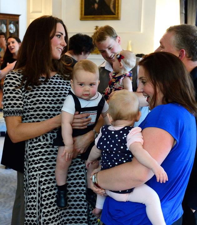 <strong>April 9, 2014</strong> <br><br> George's famous playdate! Kate first wore this knit Tory Burch dress while in Wellington, New Zealand.