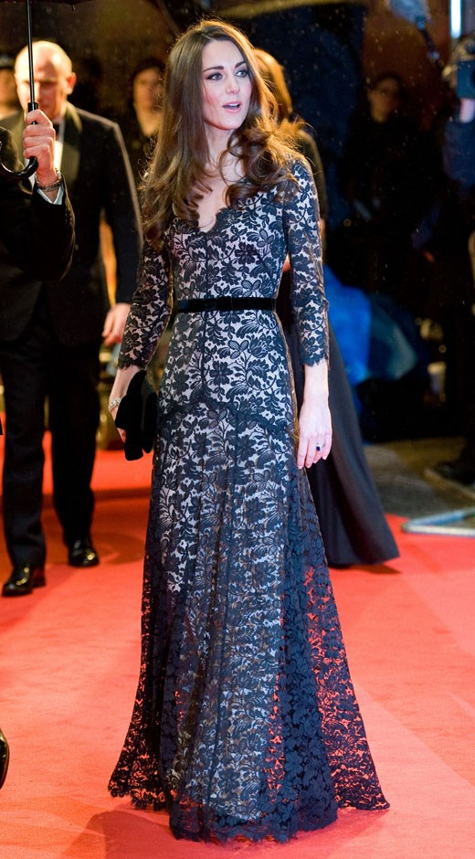 <strong>January 8, 2012</strong> <br><br> Kate wore this black lace Temperley gown to attend the premiere of <em>War Horse</em> in London.