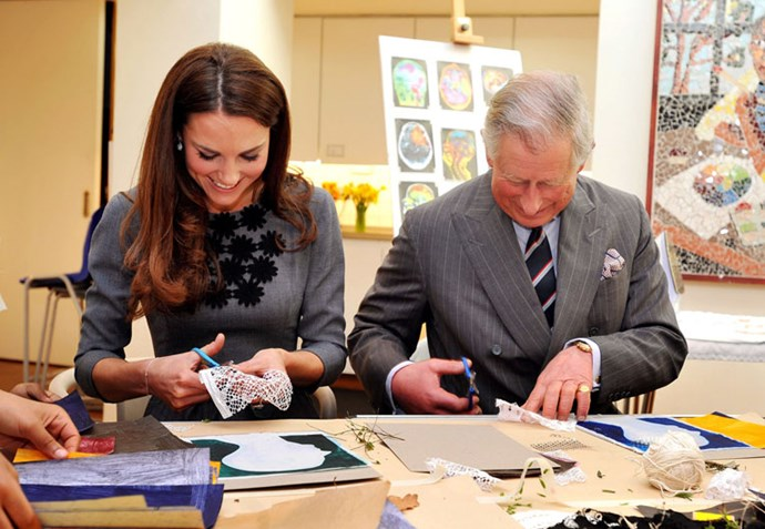 <strong>March 15, 2012</strong> <br><br> Kate wore this grey Orla Kiely dress when she and her father-in-law Prince Charles made some artwork together at a gallery in London (this was also where the famous Prince-Charles-doesn't-know-how-to-iron incident happened). Adorable.