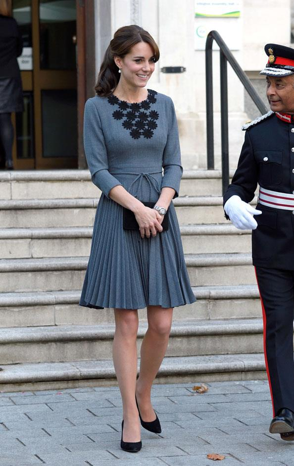 <strong>October 27, 2015</strong> <br><br> Kate opted to wear the Orla Kiely dress again when she had a meeting at Islington Town Hawl in London.