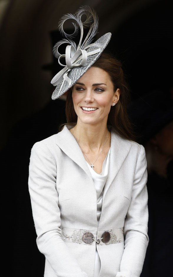 <strong>June 13, 2011</strong> <br><br> This dove gray Katherine Hooker coat first came out when Kate attended the Order of the Garter service at Windsor Castle.