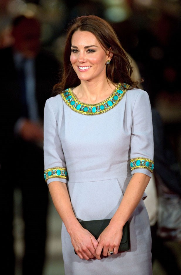 <strong>April 25, 2012</strong> <br><br> This embellished grey Matthew Williamson peplum dress debuted when the duchess attended the premiere of <em>African Cats</em> in London.
