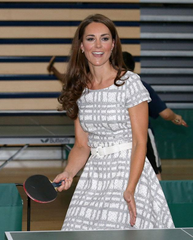 <strong>July 26, 2016</strong> <br><br> And she also play table tennis! Kate wore a patterned grey and white dress from Hobbs for an event at Bacon's College in England.