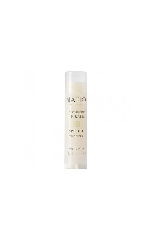 """<strong>Lip balm</strong><br><br> """"A balm is a balm is a balm, seriously. They are predominately vitamin E, with a sprinkling of aloe vera and (hopefully) some form of SPF. No need to break the bank, this one will do the job.""""<br><br> Natio moisturising lip balm SPF 30+, <a href=""""https://www.priceline.com.au/skincare/lip-care/natio-moisturising-lip-balm-spf-30-4-g"""">$4.95</a>"""