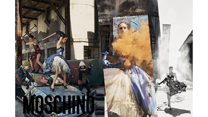 <strong>Moschino</strong><br><br> Modelled by Anna Cleveland, shot by Steven Meisel