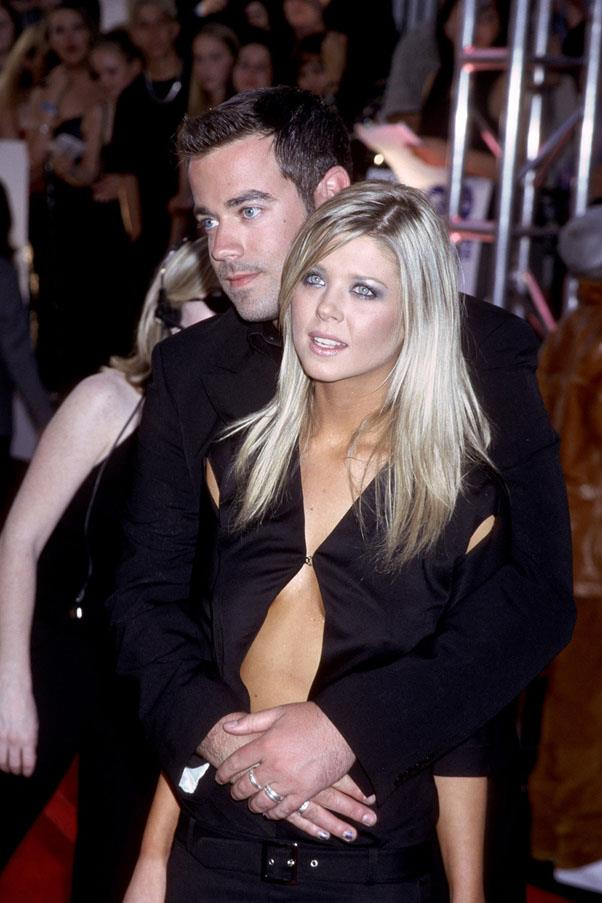 <strong>Carson Daly and Tara Reid</strong> <br><br> He may have tried to kill her in the film <em>Josie and The Pussycats</em>, but in reality they were dating after they met on the set of <em>TRL</em> in 2000. After a short engagement, they split in 2001.