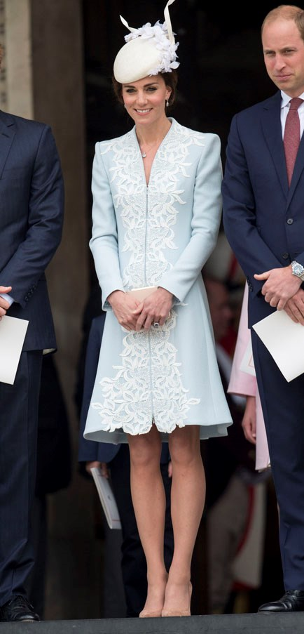 Kate's ice blue number may have broken some royal rules (the Queen put in place a longer hemline rule a few years ago), but aren't rules meant to be broken? The answer is yes. She paired the dress with some minimally chic nude pumps.