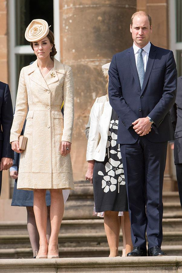 Kate attended a garden party in Northern Ireland wearing a coat dress by Day Birger et Mikkelsen and a hat by Lock & Co.