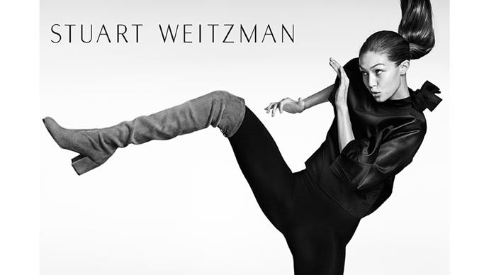 <strong>Stuart Weitzman</strong><br><br> Modelled by Gigi Hadid, shot by Mario Testino