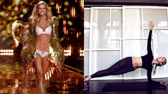"""<strong>Karlie Kloss</strong><br><br> <strong>Food:</strong> The supermodel told <a href=""""http://stylecaster.com/beauty/karlie-kloss-workouts/"""">StyleCaster</a> that she doesn't follow a particular diet. """"Instead, I try to eat as healthy as possible and choose foods that make me feel great. I try to stick to lean proteins and vegetables with healthy snacks in between."""" Her normal breakfast consists of an egg white omelette with avocado and Tabasco sauce, paired with a black coffee with almond milk. Lunch and dinner are usually lean meats with salad and vegetables. Her preferred snacks are almonds and apples, and her indulgences are """"anything with dark chocolate."""" <br><br> <strong>Fitness:</strong> Karlie works out four times a week with a focus on strength and flexibility. She does AKT classes: a 75-minute class that mixed yoga, dance, strength training and pylometrics in 10 minute mini-classes. She's also a fan of good old fashioned running, and Pilates."""