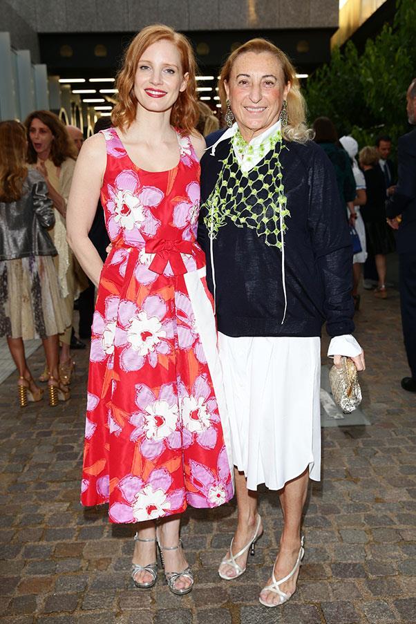 Jessica Chastain and Miuccia Prada