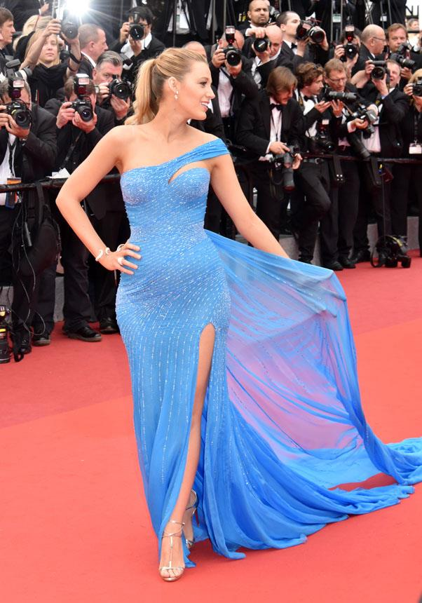 <strong>May 14th, 2016</strong> <br><br> Lively wore a sequinned Versace gown in her signature shade on the Cannes red carpet at the <em>The BFG</em> premiere.