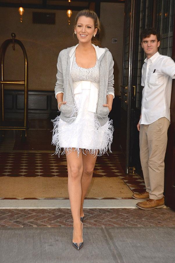 <strong>June 21st, 2016</strong><br><br> Blake brought new meaning to 'high meets low' fashion, pairing a Michael Kors embellished mini dress with a grey hoodie.