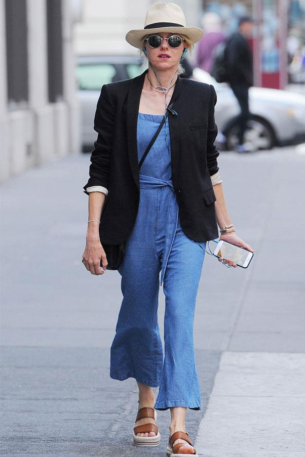 Make a denim all-in-one your summer staple. Copy Naomi Watts and dress it up with a chic blazer