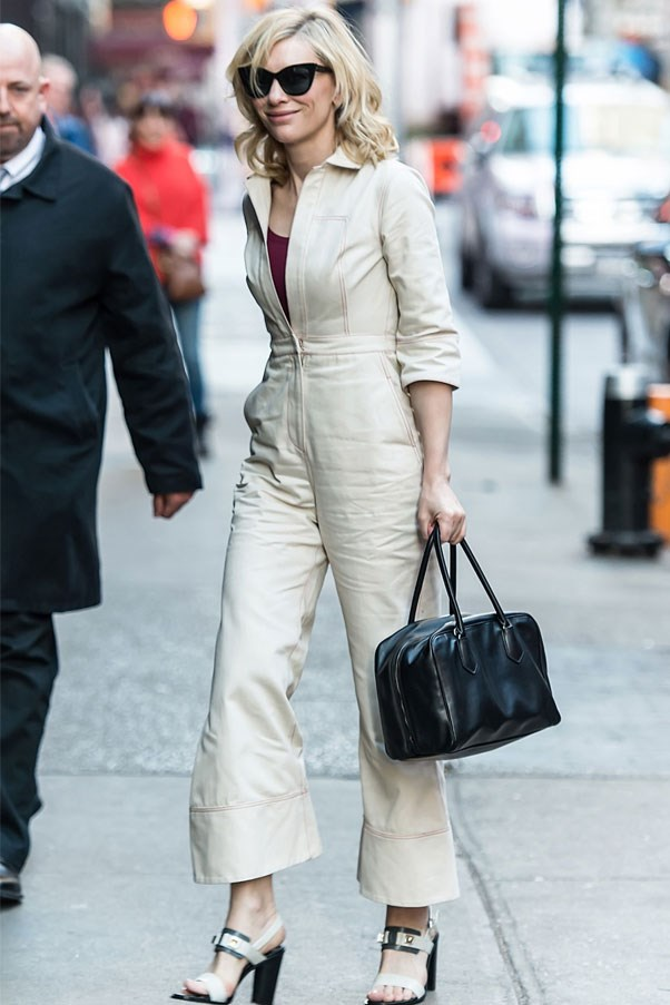 Cate Blanchett proves that the boiler suit doesn't just work off-duty. Simply dress it up with glossy heels.