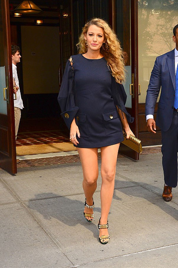 <strong>June 22nd, 2016</strong><br><br> Spotted leaving her hotel in Manhattan, New York City, Blake looks effortless chic in a navy mini dress.