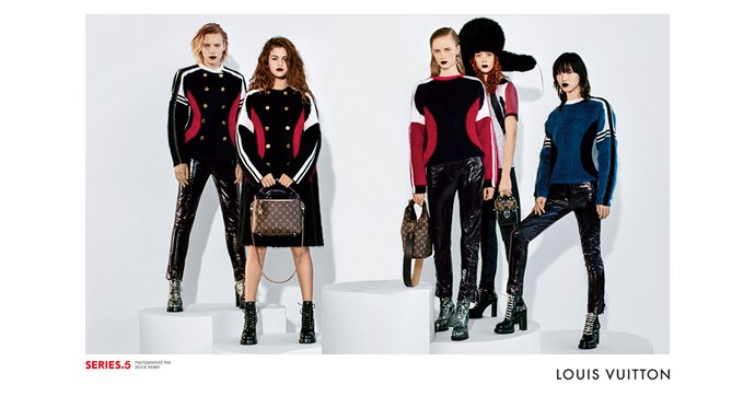 <strong>Louis Vuitton</strong><br><br> Modelled by Selena Gomez, Jean Campbell, Sora Choi, Luisiana Gonzalez, Erika Linder, Rianne Van Rompaey and Natalie Westling shot by Bruce Weber