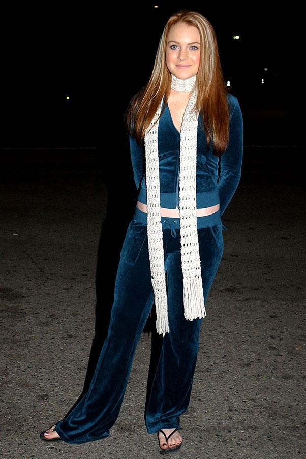 <strong>Juicy Couture tracksuits</strong><br><br> Lindsay Lohan, 2002