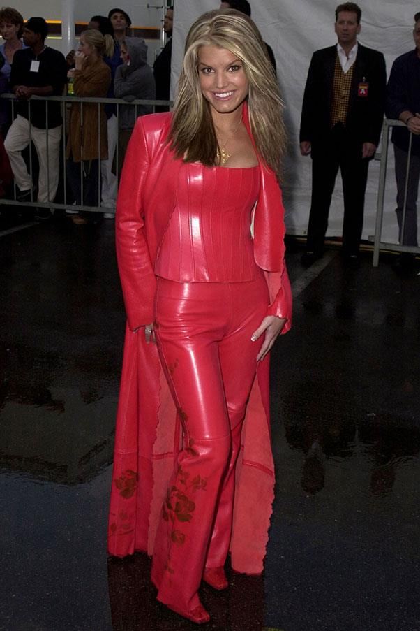 <strong>Red leather pants</strong><br><br> Jessica Simpson, 2001