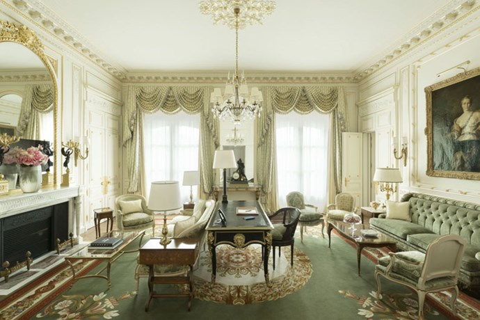 <strong>At 1,755 square feet, the suite Vendôme is one of the largest in the hotel</strong> <br><br> It's filled with furniture from the Grand Siècle and an especially spacious dressing room.