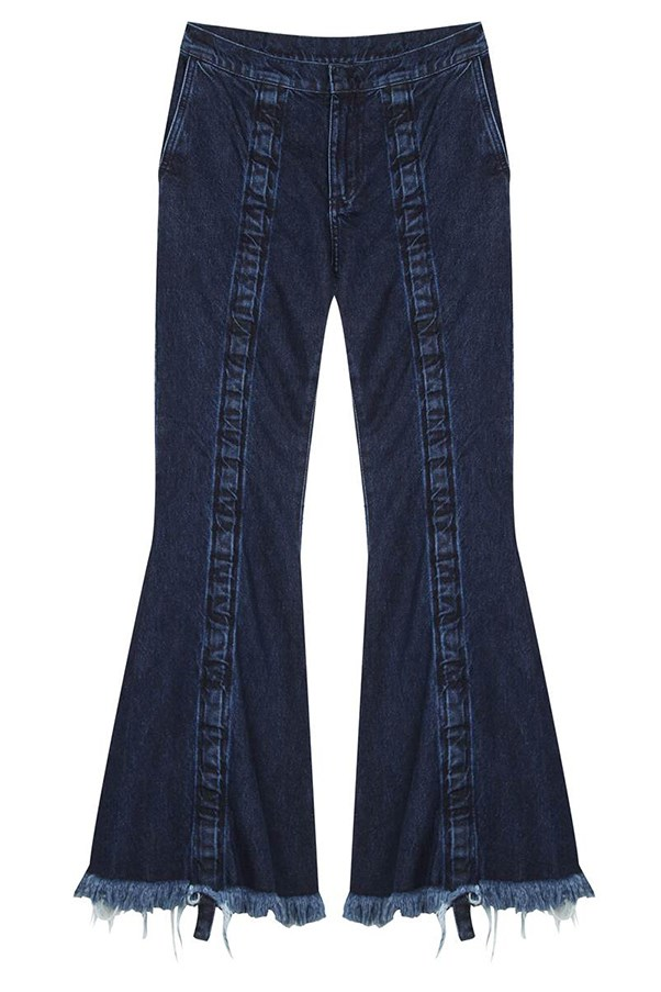 "<strong>Giselle Farhat, <a href=""https://www.mychameleon.com.au/"">My Chameleon</a>: </strong> <br><br> ""A flared or wide-leg jean in a deep indigo. The flared jean from Marques' Almeida is a favourite. Raw on the hem and skimming at the ankle for a modern shape. We see it paired with a black blazer and pump, or sweater and loafer."" <br><br> <strong>The key buy: </strong>Marques' Almeida jeans, $520, from <a href=""https://www.mychameleon.com.au/ruched-denim-jean-p-4540.html?newstuff=newstuff&typemf=women"">My Chameleon</a>."