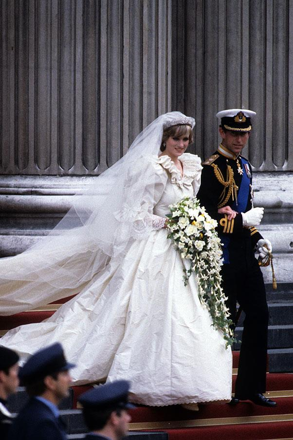 At her wedding to Prince Charles, in a dress by The Emanuels, 1981
