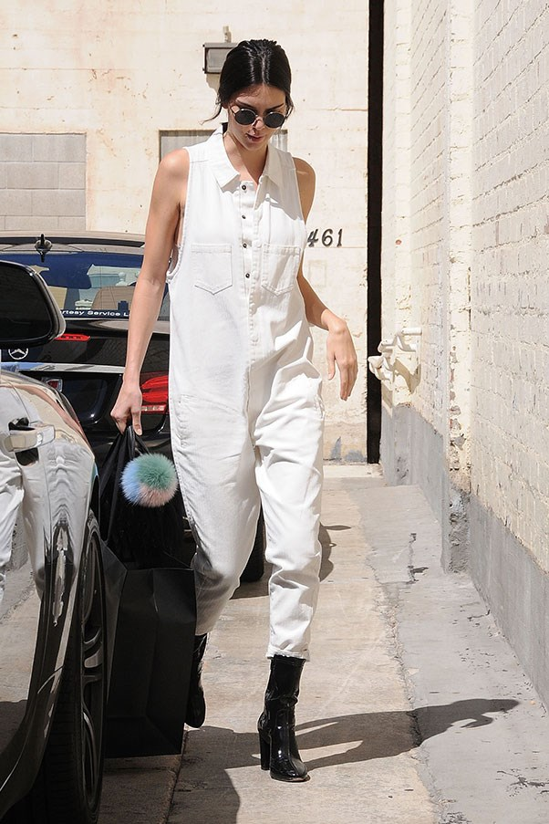 <strong>July 2, 2016</strong><br><br> Kendall rocked a cool-as-hell white jumpsuit by One Teaspoon while out shopping in Los Angeles.