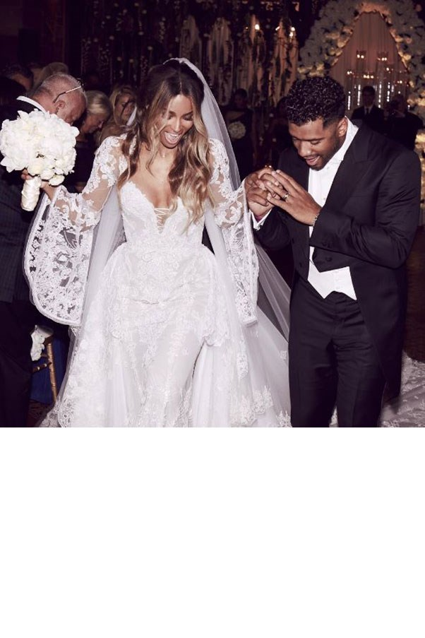 """Ciara married American football player Russell Wilson at Peckforton Castle in Liverpool, England, wearing Roberto Cavalli<br><br> Image: Instagram <a href=""""https://www.instagram.com/p/BHiLGIeD8f6/"""">@ciara</a>"""