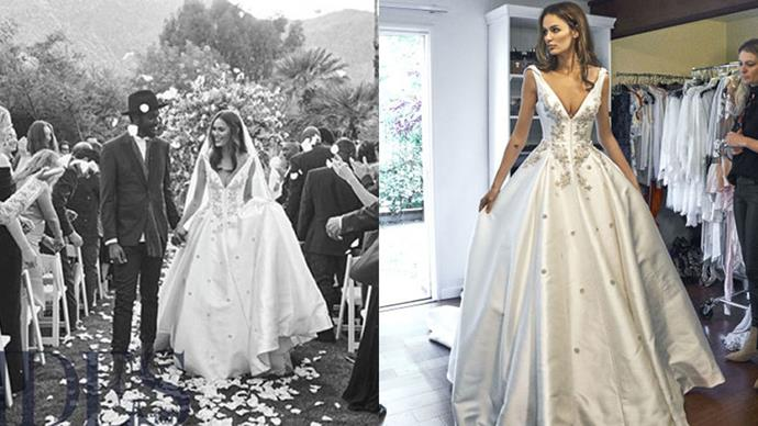 Nicole Trunfio wore custom Steven Khalil to wed muso Gary Clarke Jr. in Palm Springs in April 2016.