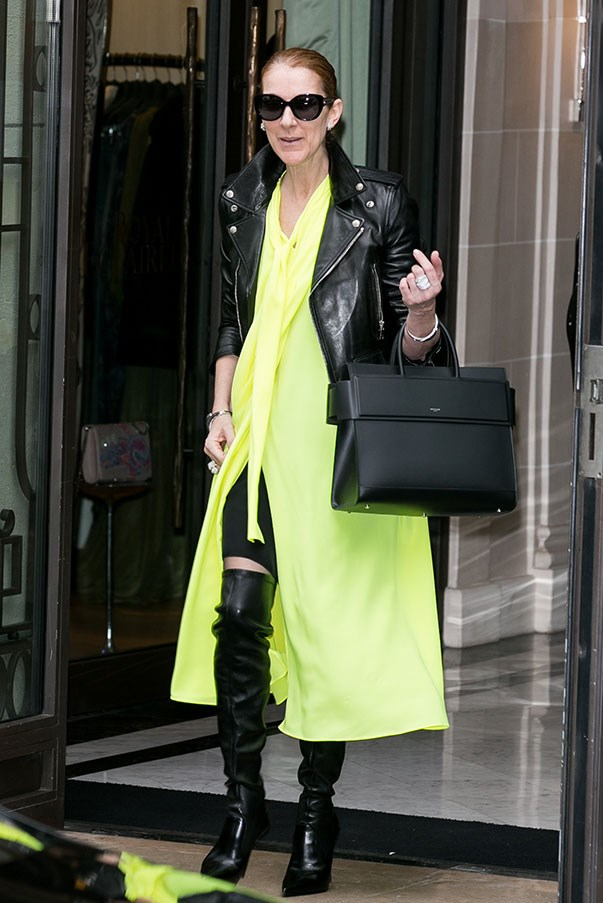 <strong>June 28th, 2016</strong><br><br> Celine paired a Balenciaga dress with a Saint Laurent leather jacket, Le Silla over-the-knee boots and a Givenchy tote.