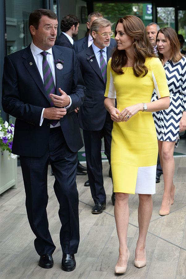 Kate wore a radiant yellow Roksanda dress to attend Wimbledon.