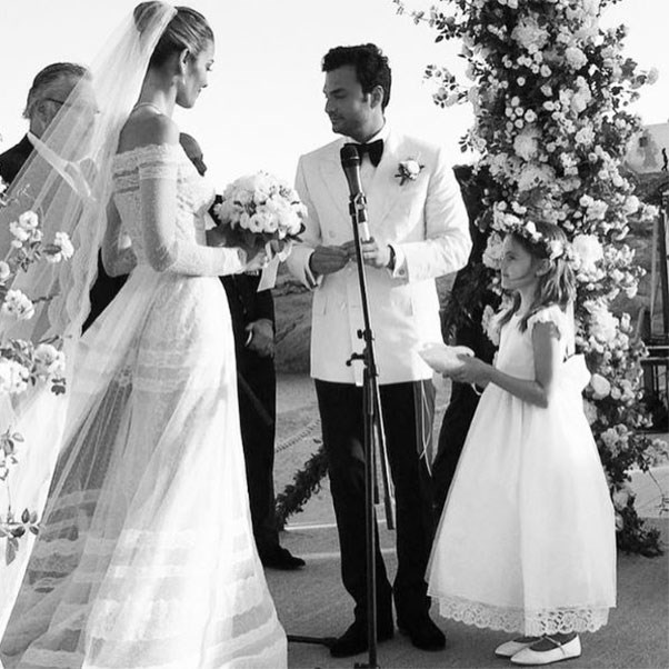 "The bride and groom, with Alessandra Ambrosio's daughter Anja as flower girl <br><br> Instagram: <a href=""https://www.instagram.com/p/BHoJ7qWD-XE/?taken-by=alessandraambrosio"">@alessandraambrosio</a>"