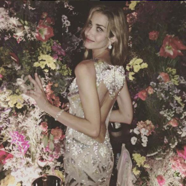 "The third outfit change of the night - in a custom-made dress by Peter Dundas for Roberto Cavalli for the bouquet throw<br><br> Instagram: <a href=""https://www.instagram.com/p/BHnepS_DHIq/?taken-by=jamisonernest"">@jamisonernest</a>"