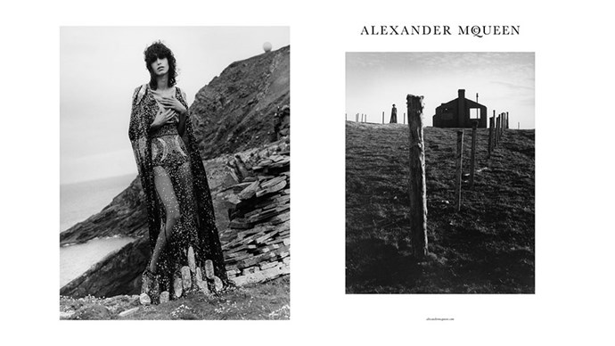 <strong>Alexander McQueen</strong><br><br> Modelled by Mica Arganaraz, shot by Jamie Hawkesworth