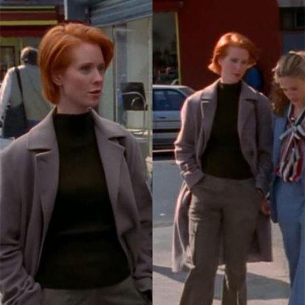 """Minimalism is a good look for Miranda. She has a Tilda Swinton quality and that '90s-era Jil Sander shit actually makes sense w/ her lifestyle (S3/ EP 2) #MirandaHobbes #Minimalism""<br><br> Instagram <a href=""https://www.instagram.com/everyoutfitonsatc/?hl=en"">@EveryOutfitOnSATC</a>"