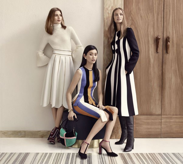 <strong>Salvatore Ferragamo</strong><br><br> Modelled by Ine Neefs, Valery Kaufman, Ming Xi, shot by Craig McDean