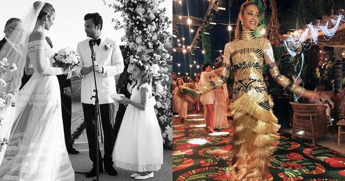 """Brazillian model Ana Beatriz Barros wore a lace Valentino gown to marry businessman Karim El Chiaty in Mykonos. Over the wedding celebrations, she wore four other numbers including a short tasselled Naeem Khan dress, a fringed Naeem Khan gown, a sparkling Roberto Cavalli gown and she wore a Alessandra Rich dress for her rehearsal dinner.<br><br> Instagram: <a href=""""https://www.instagram.com/anabeatrizbarrosofficial/?hl=en"""">@anabeatrizbarrosofficial</a>"""